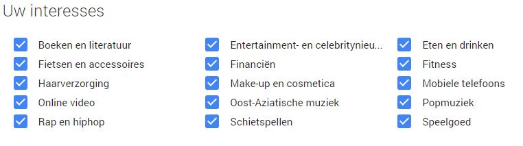 Voorbeeld Google interesses
