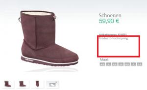 Ontbrekende productomschrijving schoen