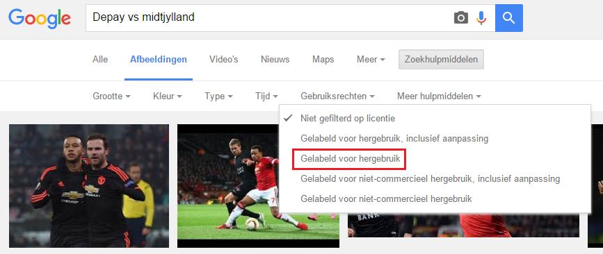 Google afbeeldingen hergebruiken