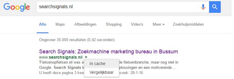 Cache-google-site-aanmelden