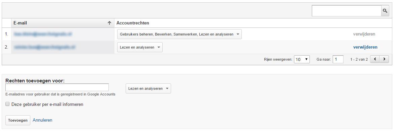 Google Analytics beheerder toevoegen