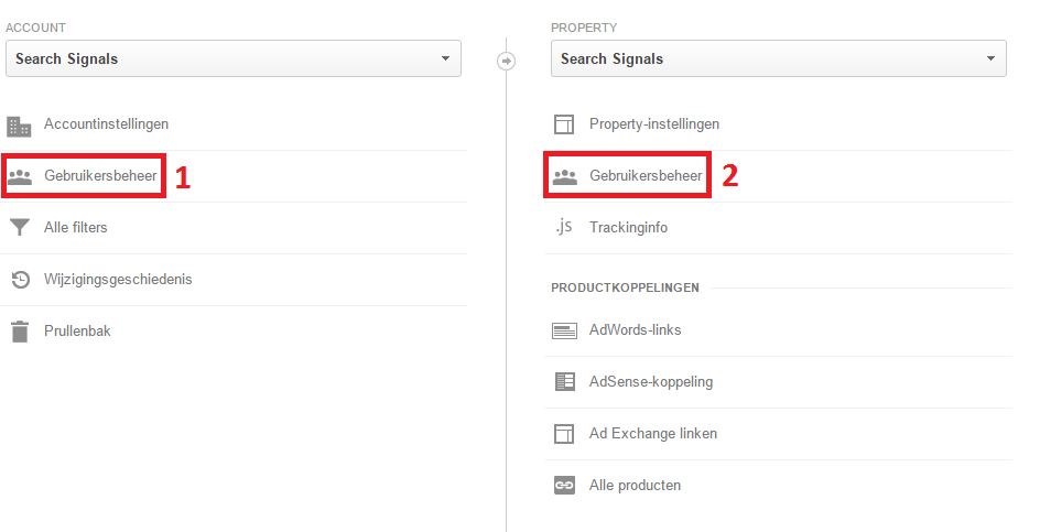 Google analytics gebruikersbeheer