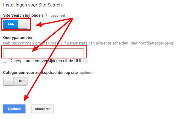 Google Analytics - interne zoekmachine instellen stap 3