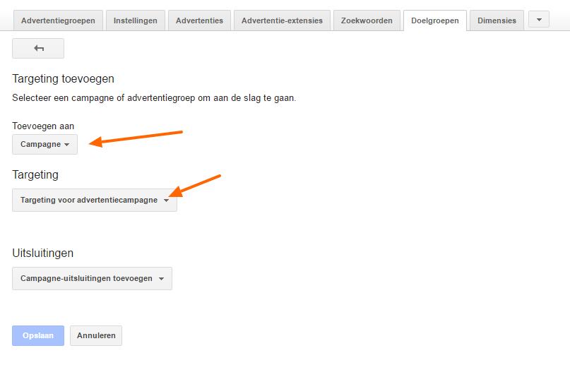 Lijst voor interesses - RLSA doelgroep toevoegen aan Google Adwords