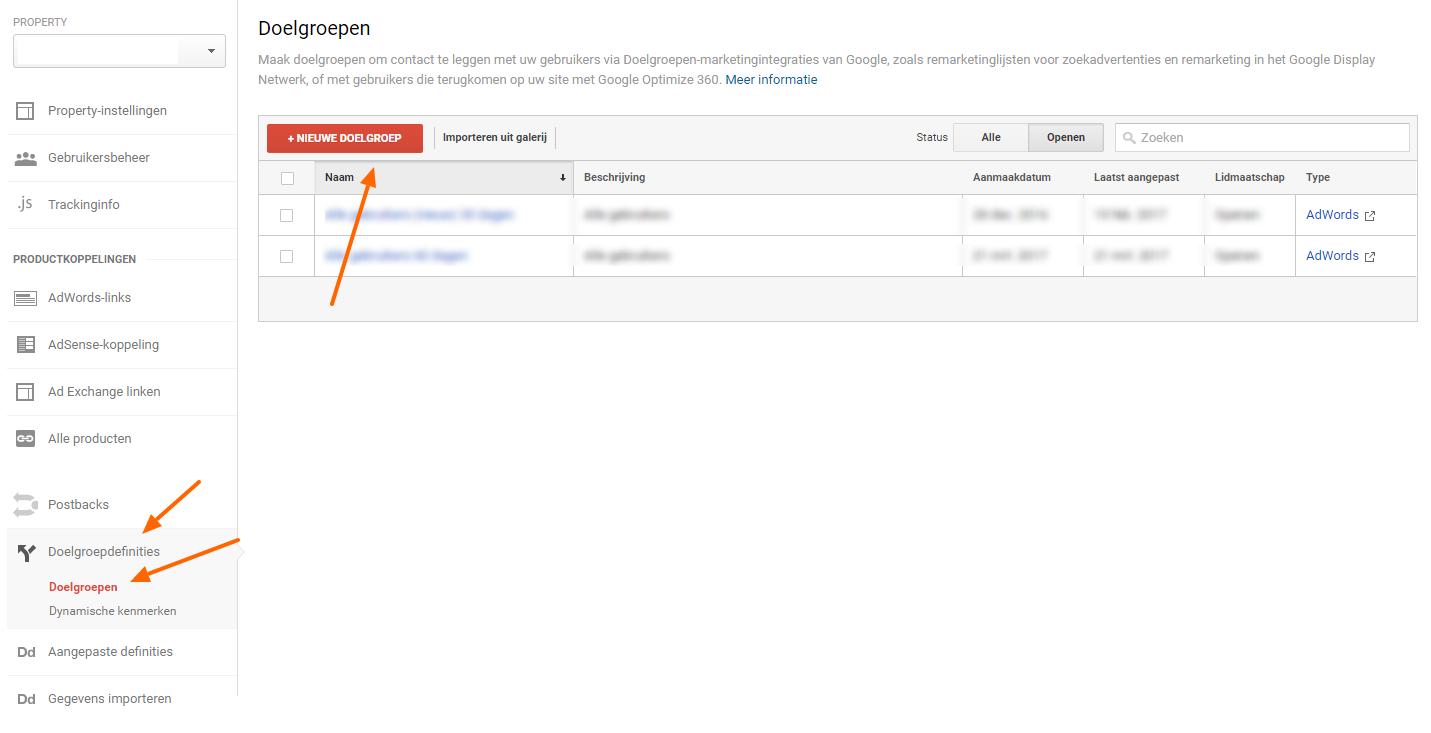 Nieuwe doelgroep aanmaken Remarketing lists for search ads