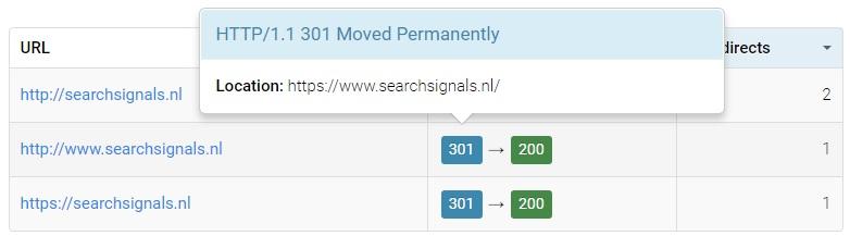 checken of redirects goed staan ingesteld tijdens https migratie