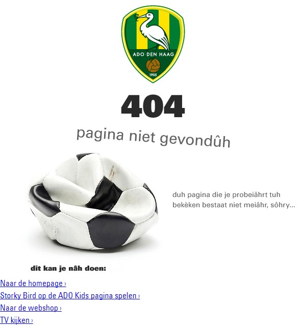 404-pagina ADO Den Haag