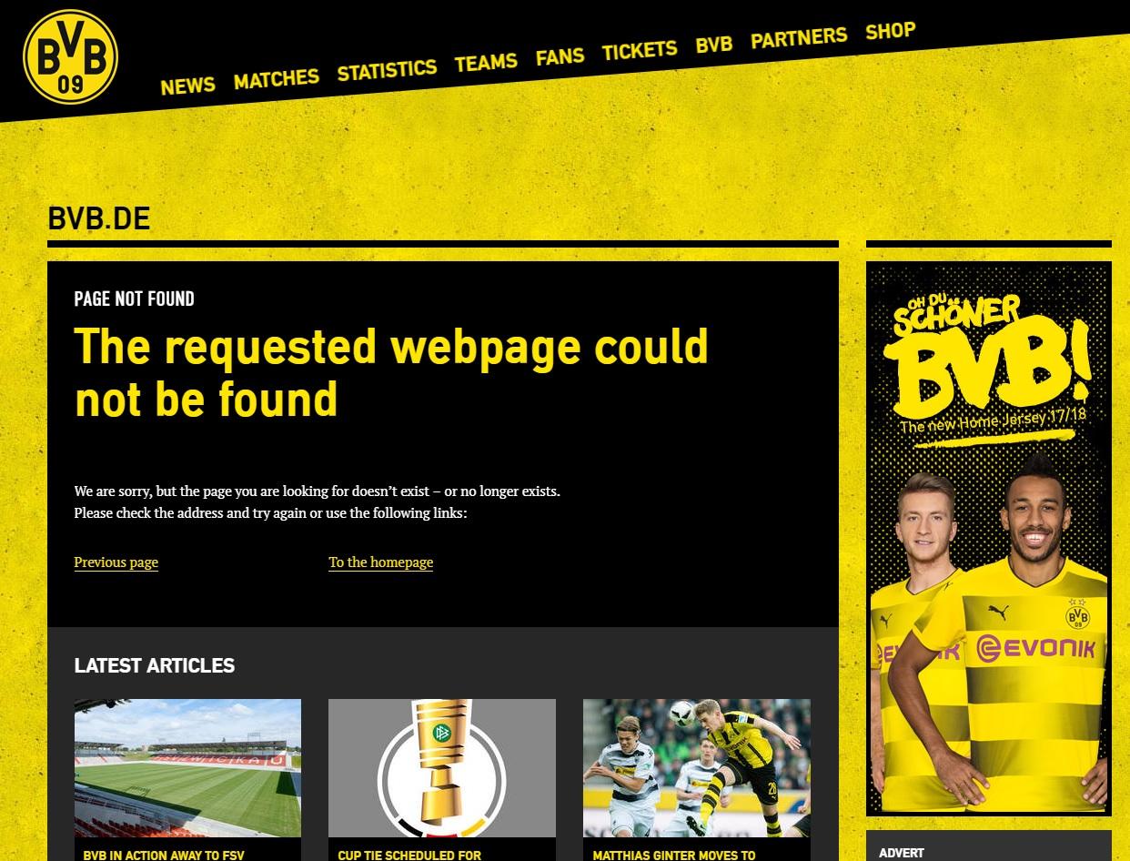 404-pagina Borussia Dortmund