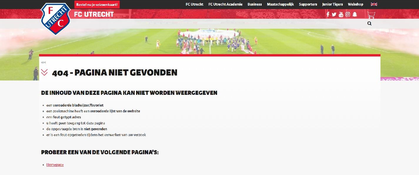 404-pagina FC Utrecht