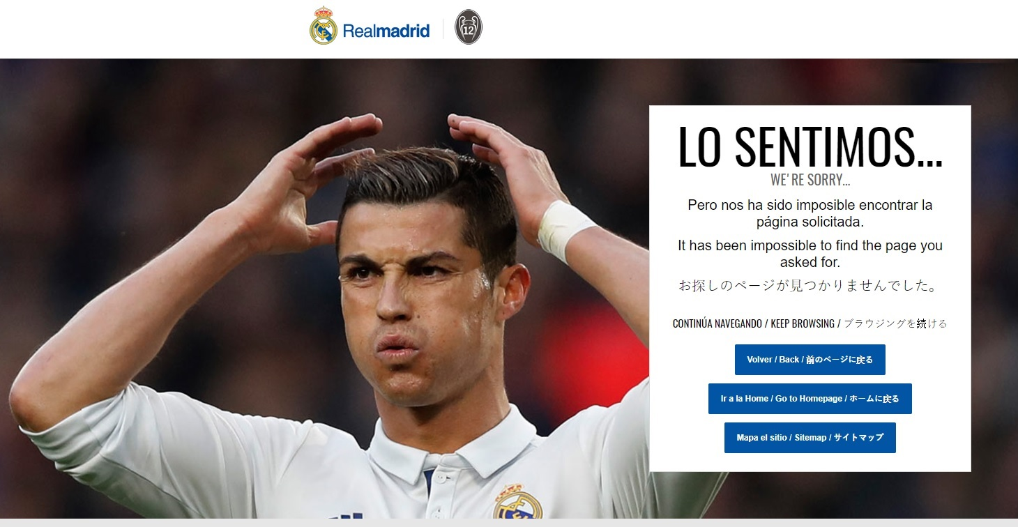 404-pagina Real Madrid Ronaldo