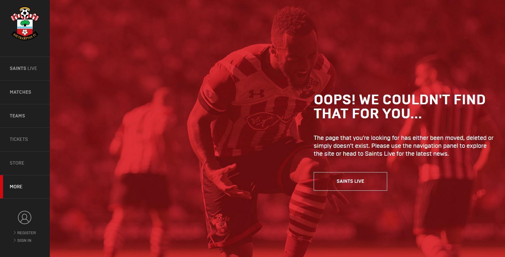 404-pagina Southampton FC