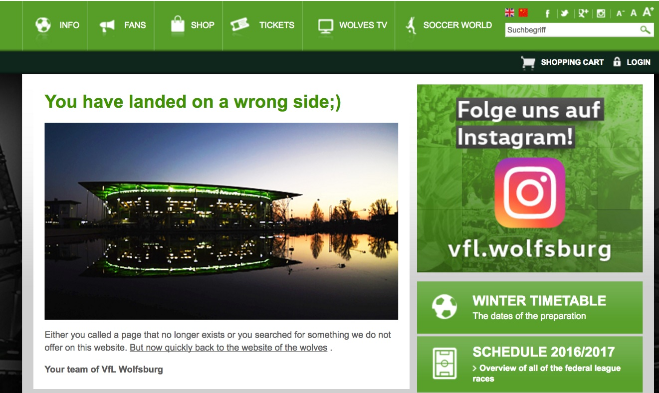 404-pagina VFL Wolsburg