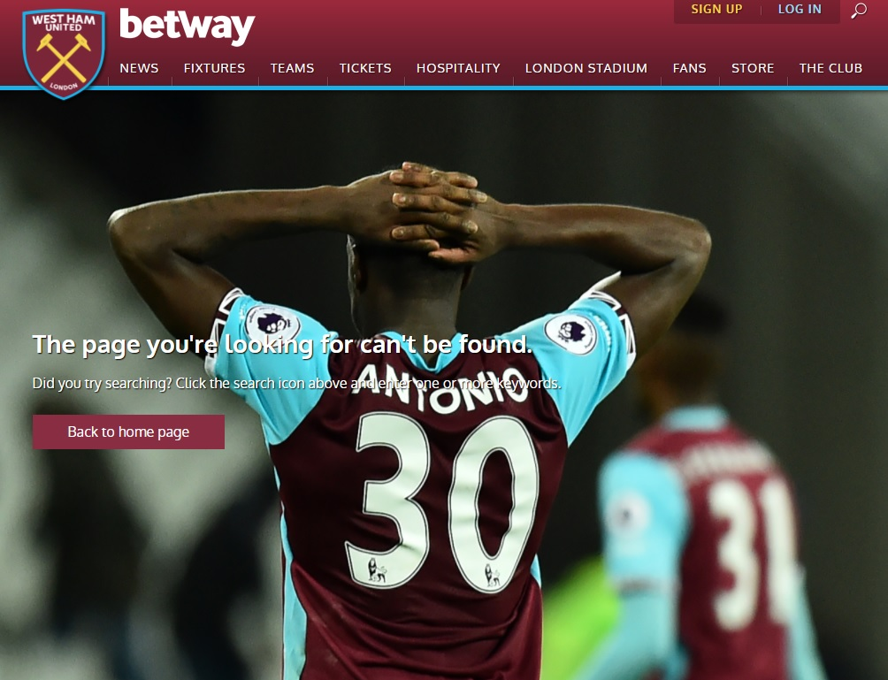 404-pagina West Ham United