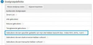 Remarketing lists for Search Ads doelgroepdefinitie voorbeeld