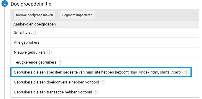 Remarketing lists for Search Ads doelgroepdefinitie voorbeeld