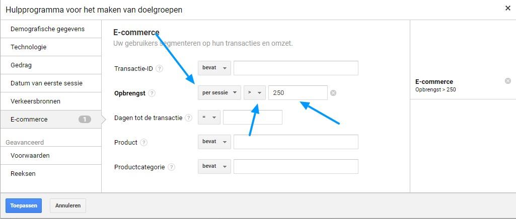 Remarketing lists for Search Ads transactiewaarde invoeren