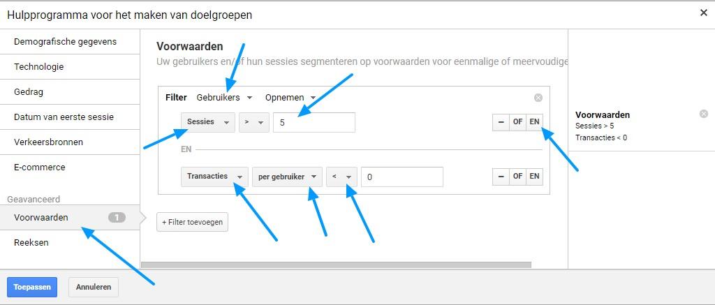 Remarketing lists for Search Ads voorwaarden voorbeeld