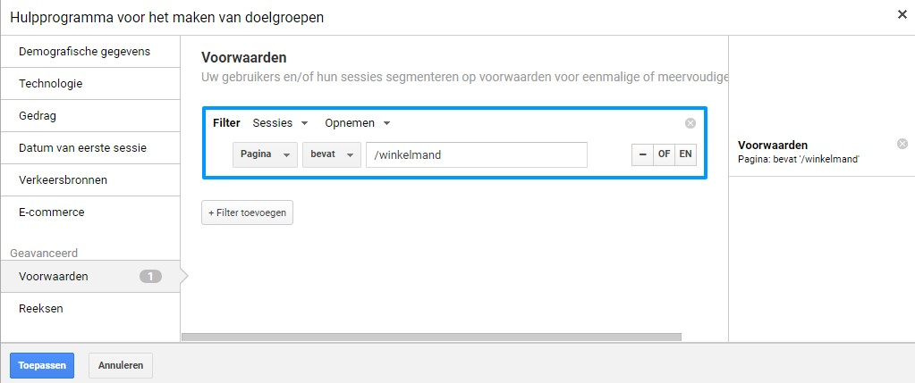 Remarketing lists for Search Ads winkelmand URL toevoegen