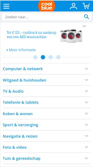 Coolblue dynamische mobiele website