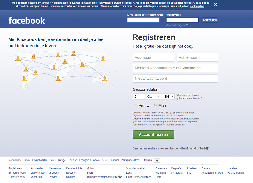 Facebook desktop website