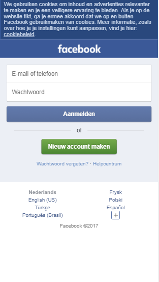 Facebook mobiele website