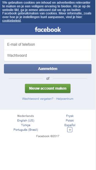 Facebook mobiele website