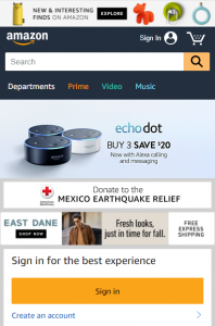 Mobile first Index - Amazon mobile website