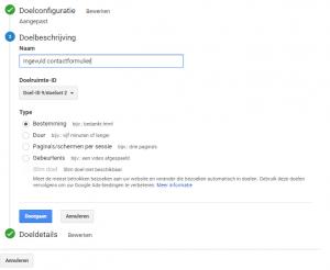 Doelen instellen Google Analytics bestemming