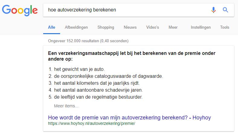 hoe autoverzekering berekenen voorbeeld zoekresultaten