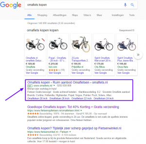 voorbeeld Adwords zoekresultaat