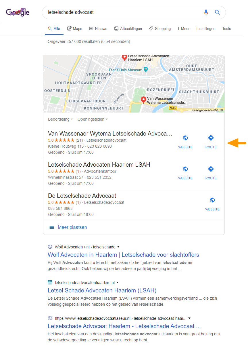 Google maps local pack