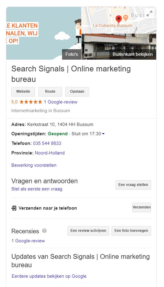 search signals google mijn bedrijf