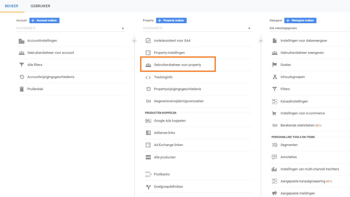 1. Overzicht - beheerder toevoegen Google Analytics Search Signals