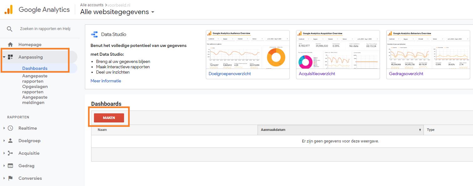 Google analytics dashboard instellen